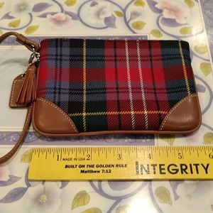 Coach tartan plaid small wristlet